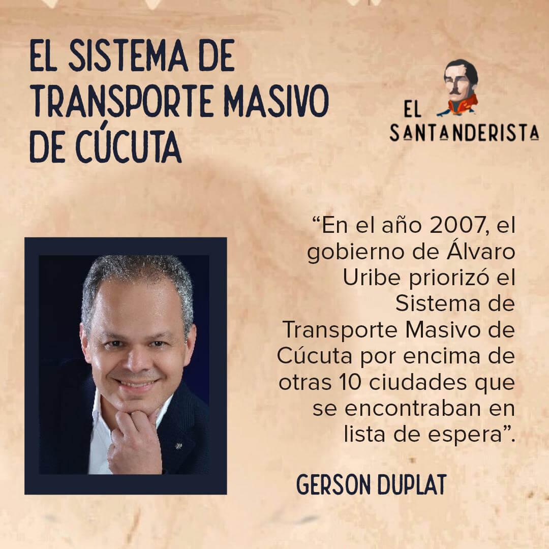 El sistema de transporte masivo de cúcuta Gerson Duplat el santanderista